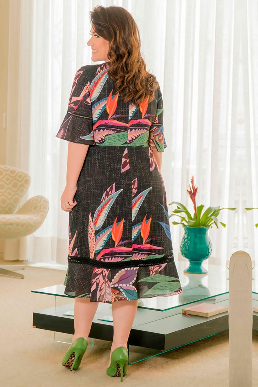 Vestido Plus Size Crepe Estampa Exclusiva Kauly 2916