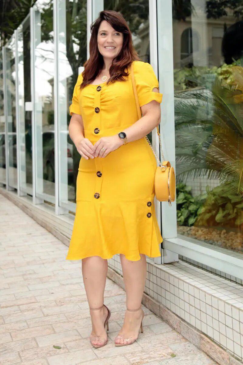 Vestido Plus Size em Linho Mescla Botões Frontais Kauly 2758