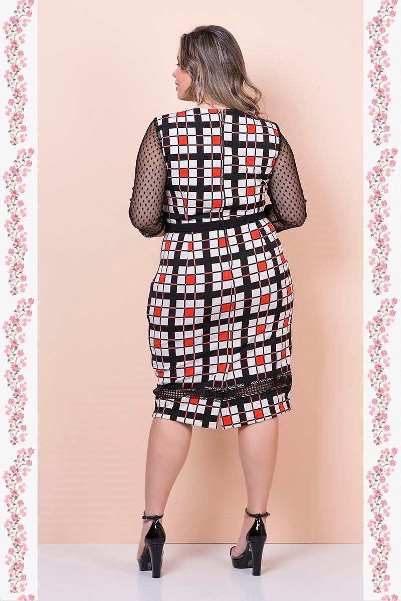 Vestido Plus Size em Malha com Forro Detalhe Renda Kauly 2354