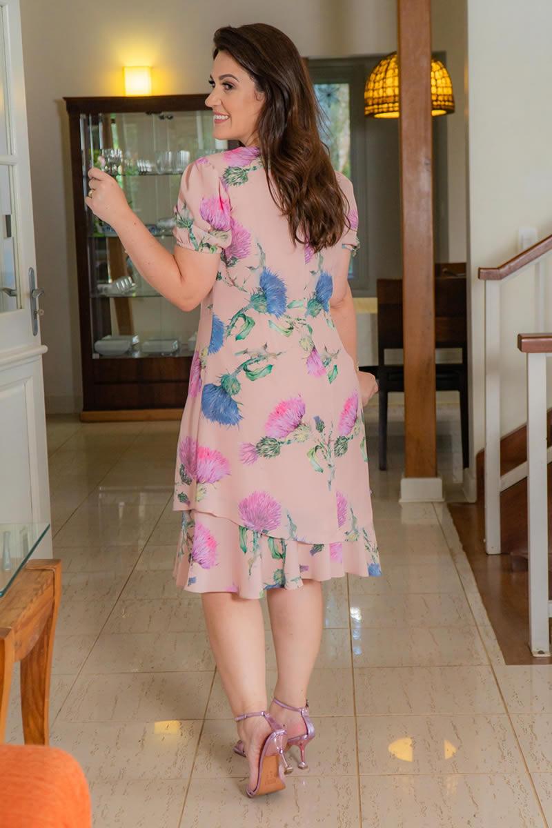 Vestido Plus Size  Estampado em Crepe Kauly 3018
