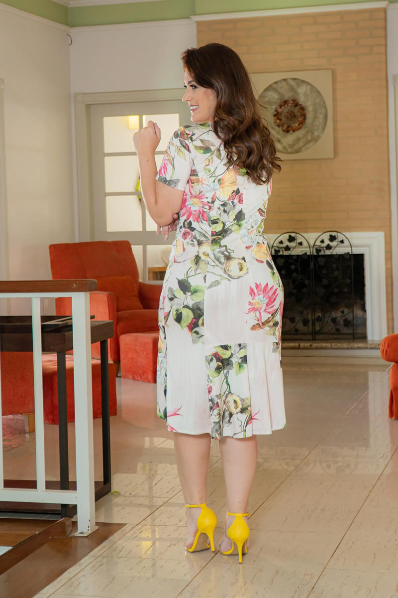 Vestido Plus Size  Estampado Malha Canela Kauly 3020