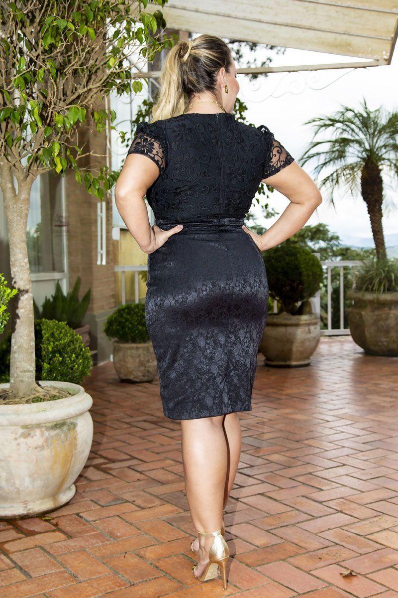 Vestido Plus Size Jacquard com Forro Kauly 2266