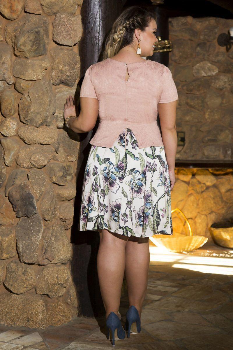 Vestido Plus Size Jacquard Kauly 2214