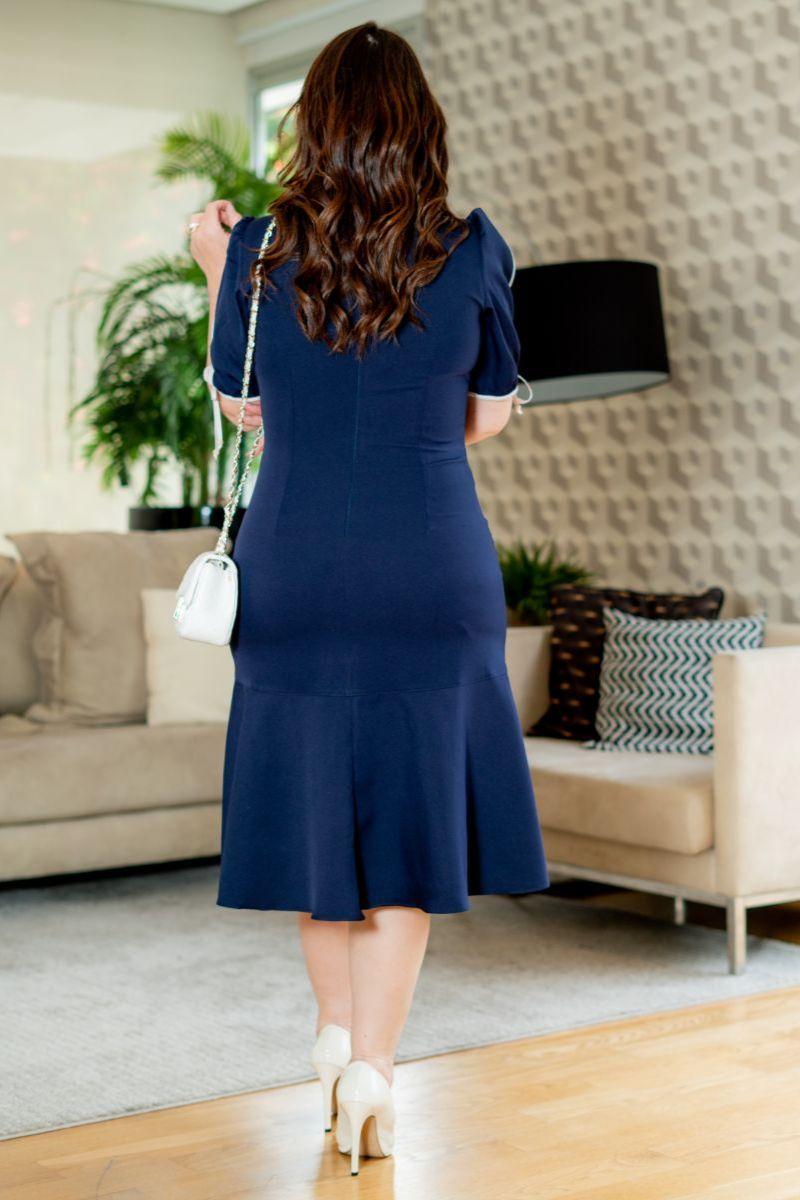 Vestido Plus Size Kauly Alfaiataria Azul Vivos e Cinto Fixo 3136