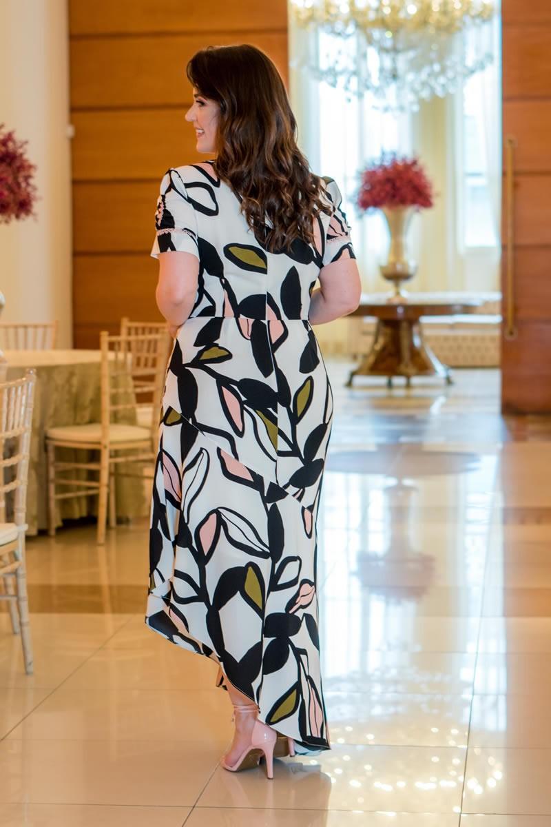 Vestido Plus Size Kauly Estampado Crepe Detalhe Renda 2987
