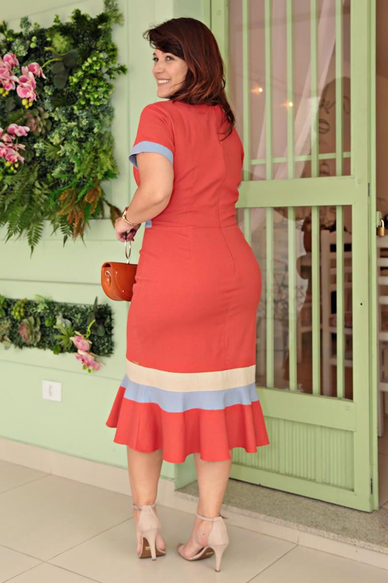Vestido Plus Size Linho Moda Evangélica Kauly 2656