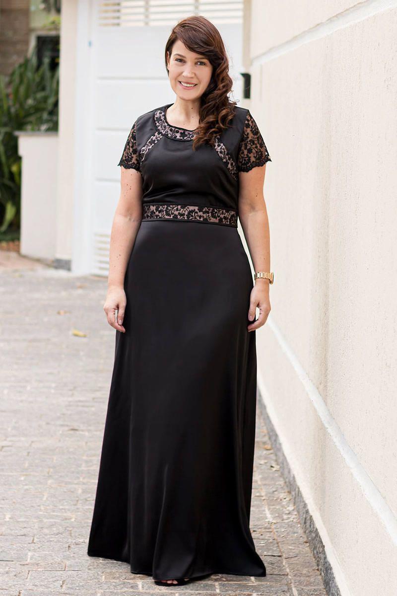 Vestido Plus Size Longo Crepe Cetim Kauly Moda Evangélica 2606