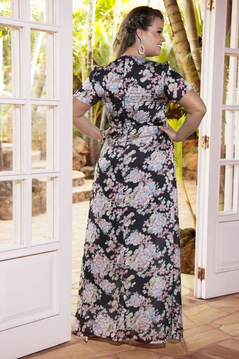 Vestido Plus Size Longo Crepe Kauly 2218