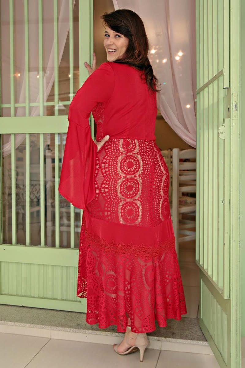 Vestido Plus Size Maxi Renda com Malha Moda Evangélica Kauly 2652
