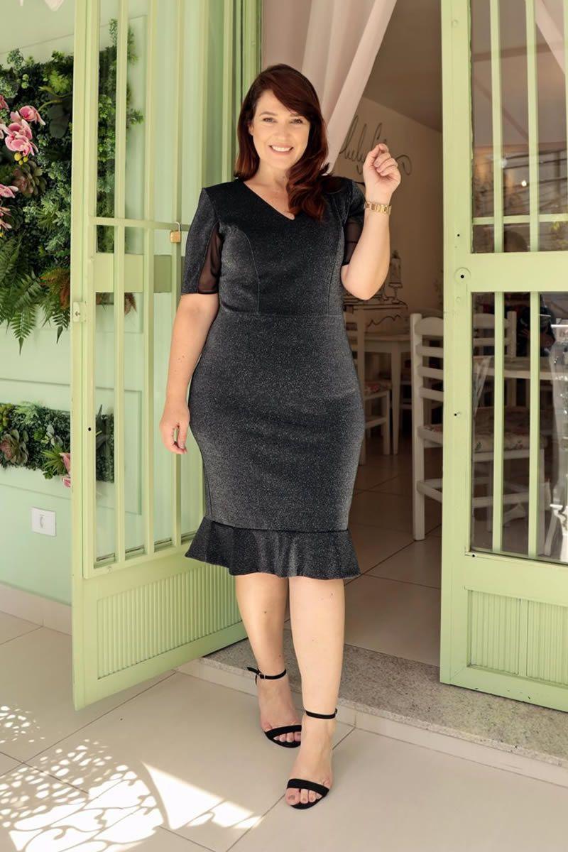 Vestido Plus Size Montaria Lurex Detalhes Tule Kauly 2708