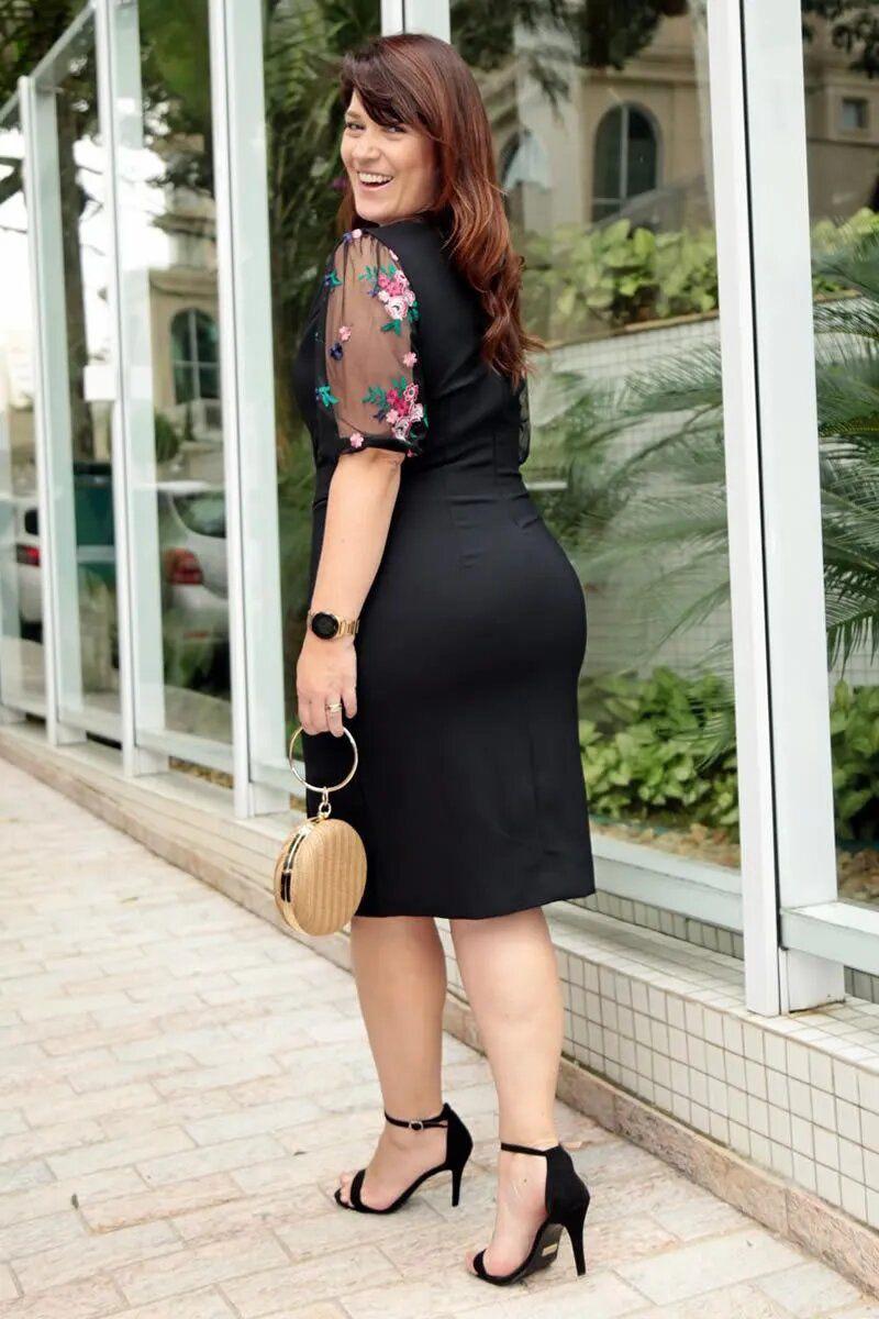 Vestido Plus Size Montaria Recortes Tule Bordado Kauly 2771