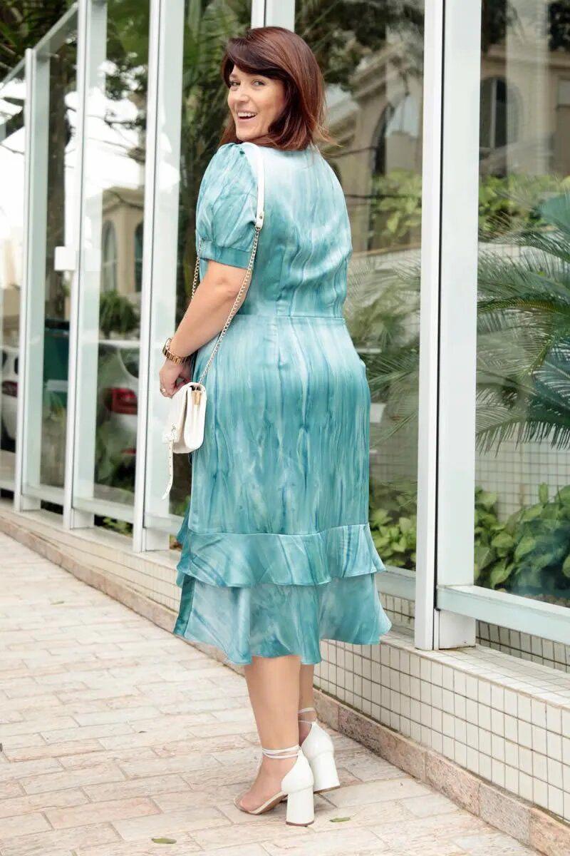 Vestido Plus Size Tie Day Crepe Acetinado Kauly 2772