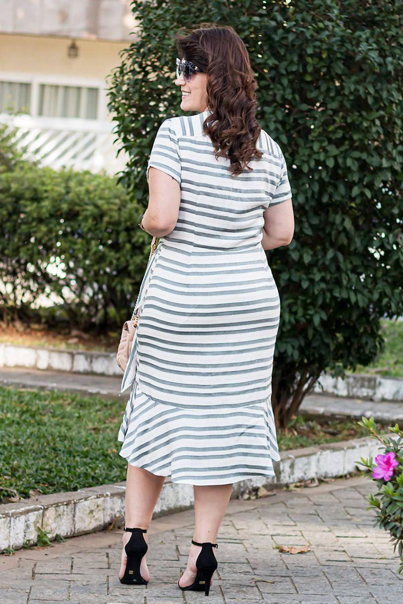 Vestido Plus Size Viscose Babado na Barra e Amarração na Cintura Kauly Moda Evangélica 2587