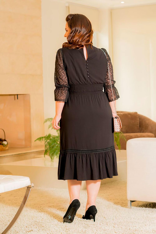 Vestido Plus Size Viscose com Crepe Kauly 2907 Preto