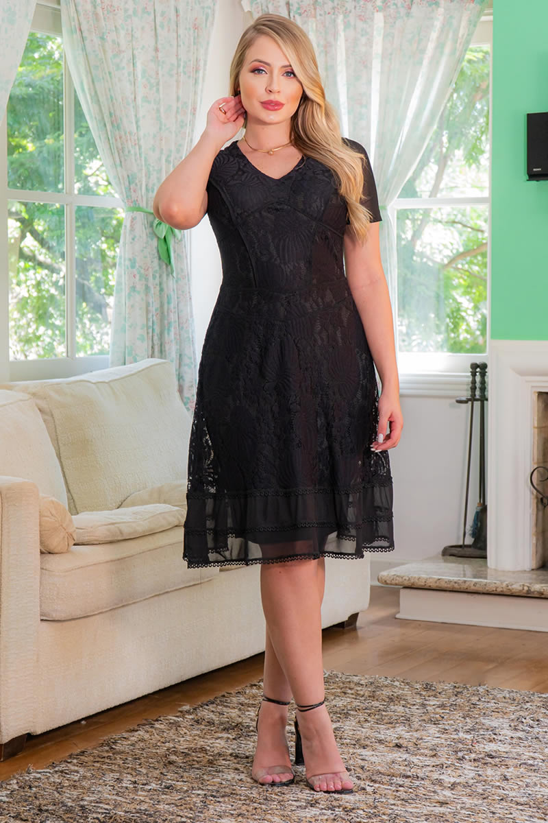 Vestido Preto Kauly Lady Like Renda Recortes em Tule 3014