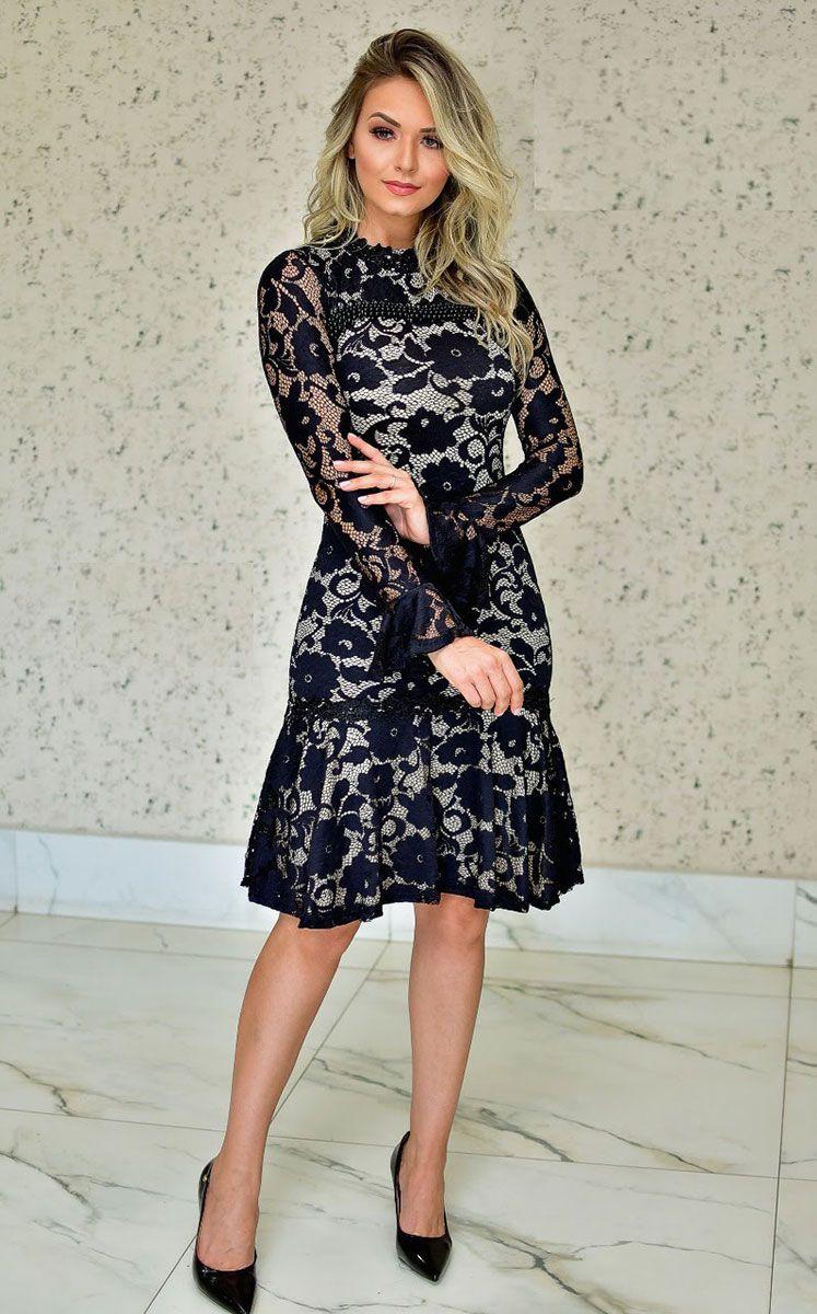 Vestido Renda Bordada Angelina Maria Amore 2577MA