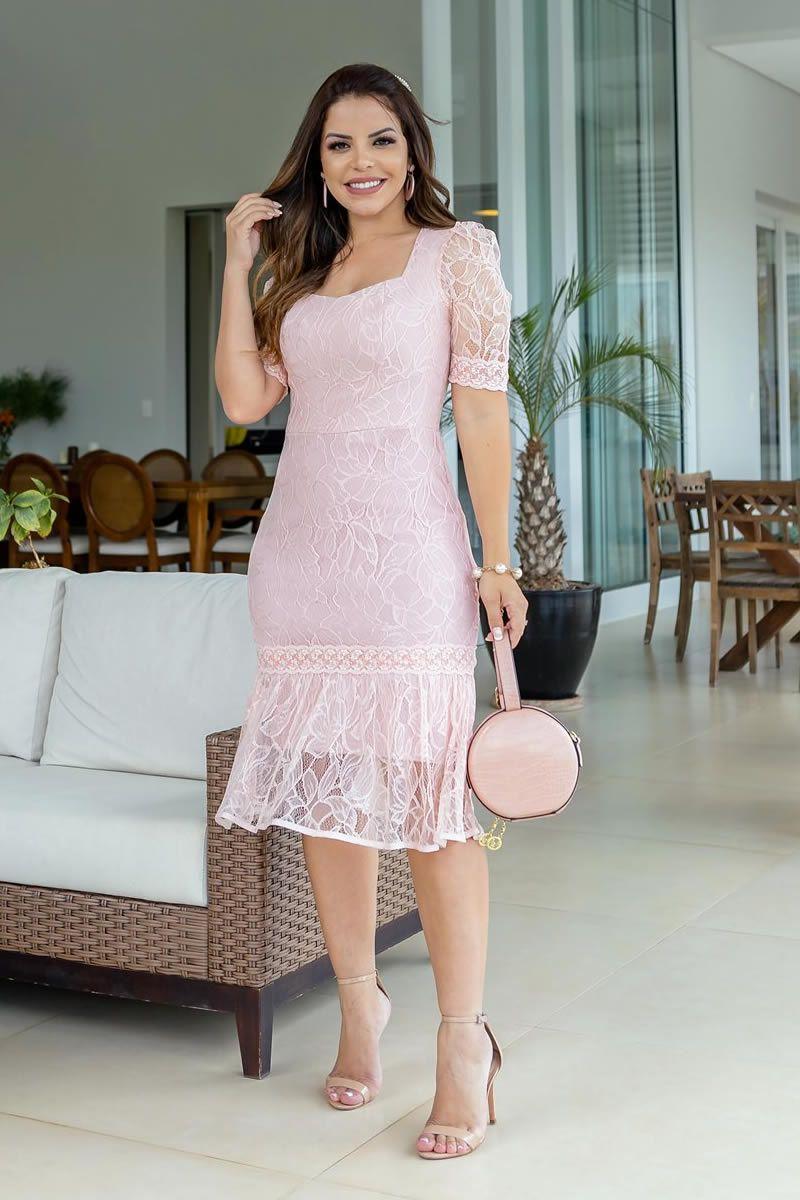 Vestido Renda Chantilly Midi com Babados Luciana Pais 92725