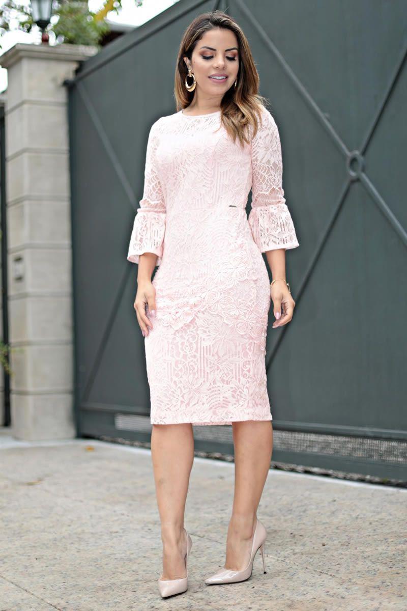 Vestido Renda com aplicação Moda Evangélica Kauly 2643