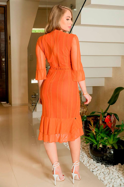 Vestido Renda Detalhes Entremeio Kauly 2928 Laranja
