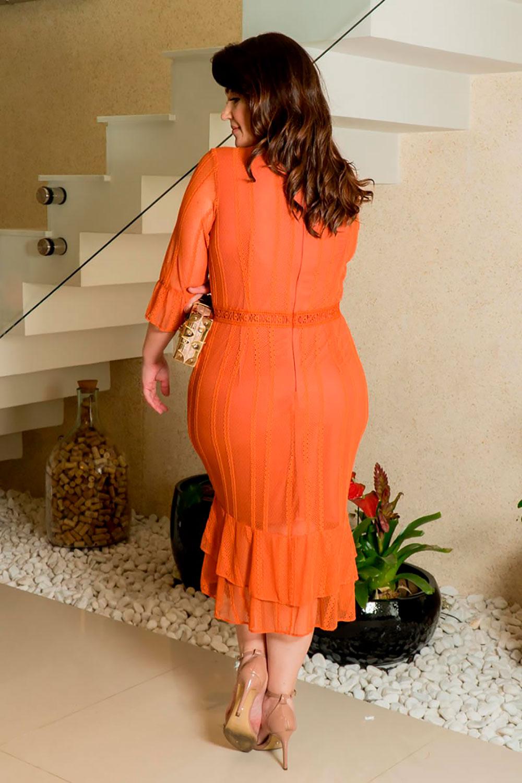 Vestido Renda Detalhes Entremeio Kauly 2929 Laranja