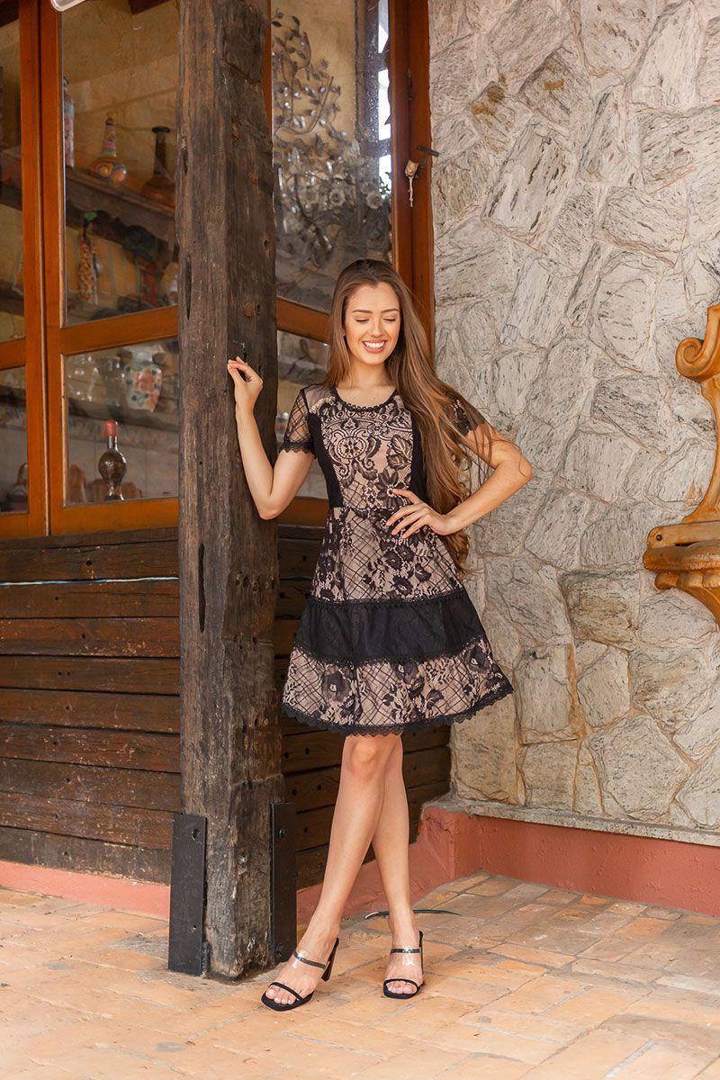Vestido Renda Evase Tamires Maria Amore 2933MA