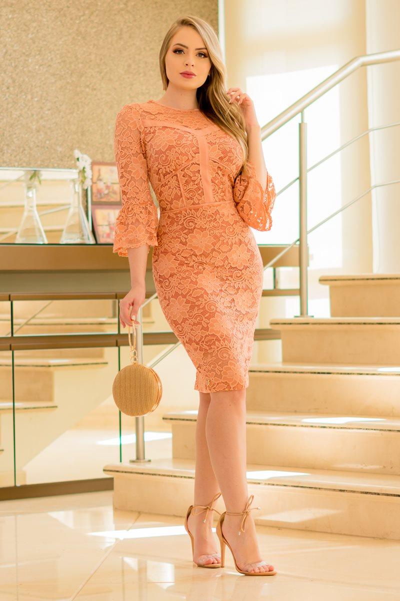 Vestido Renda Recortes e Manga Sino Kauly 2908 Rose