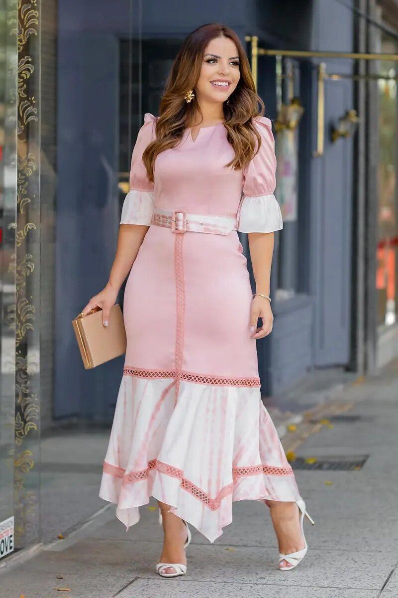 Vestido Seda Recortes Tie Day Kauly 2748