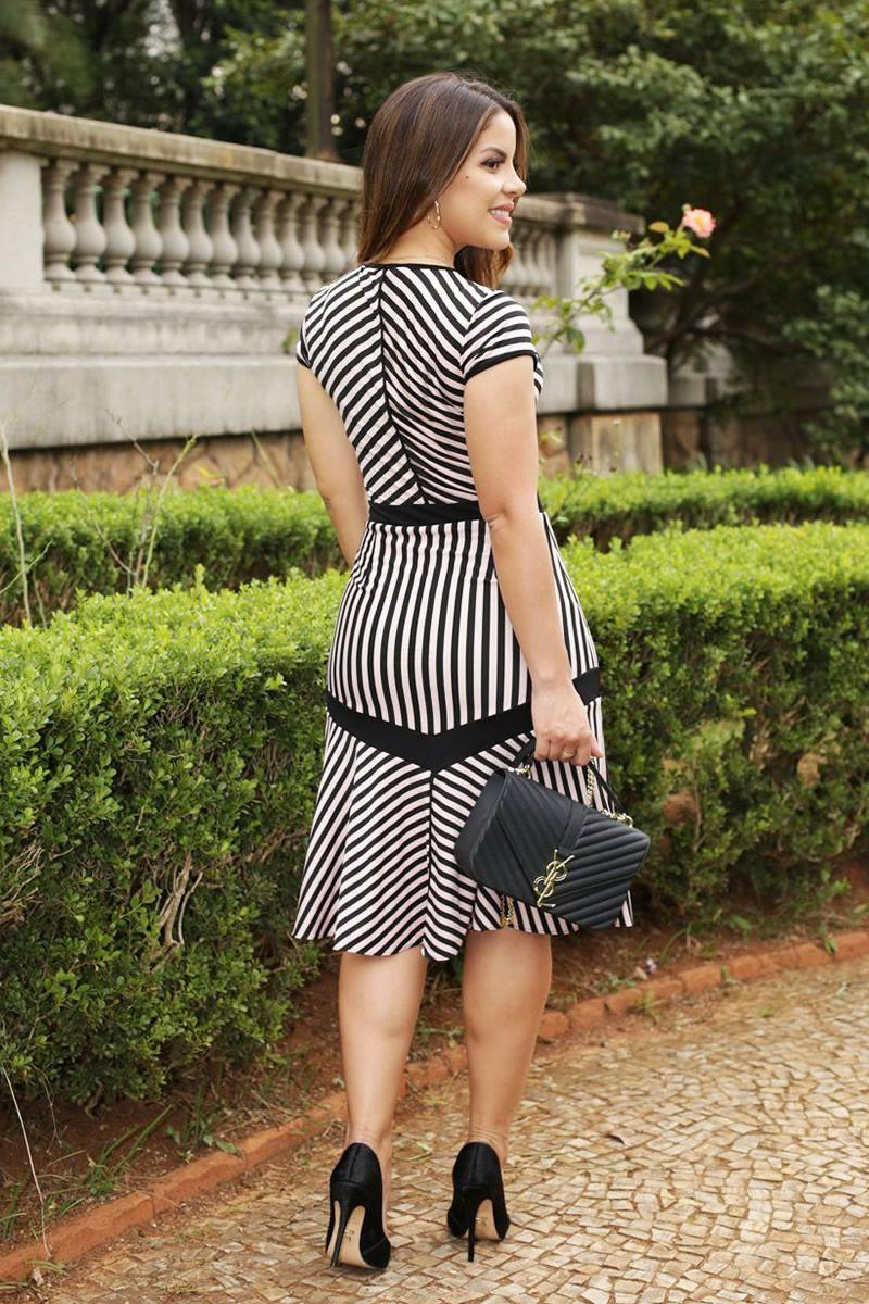 Vestido Sino Listrado em Malha Luciana Pais 92509