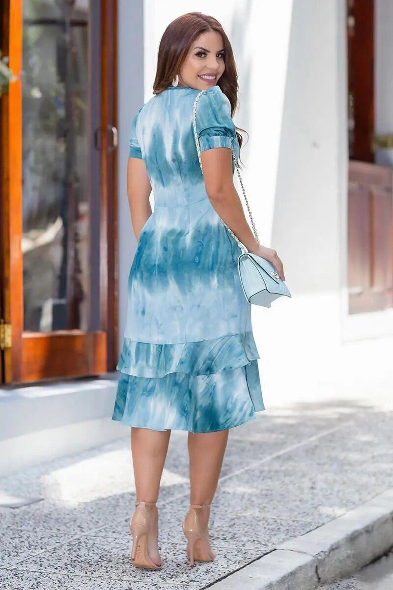 Vestido Tie Day Crepe Acetinado Babados Kauly 2767