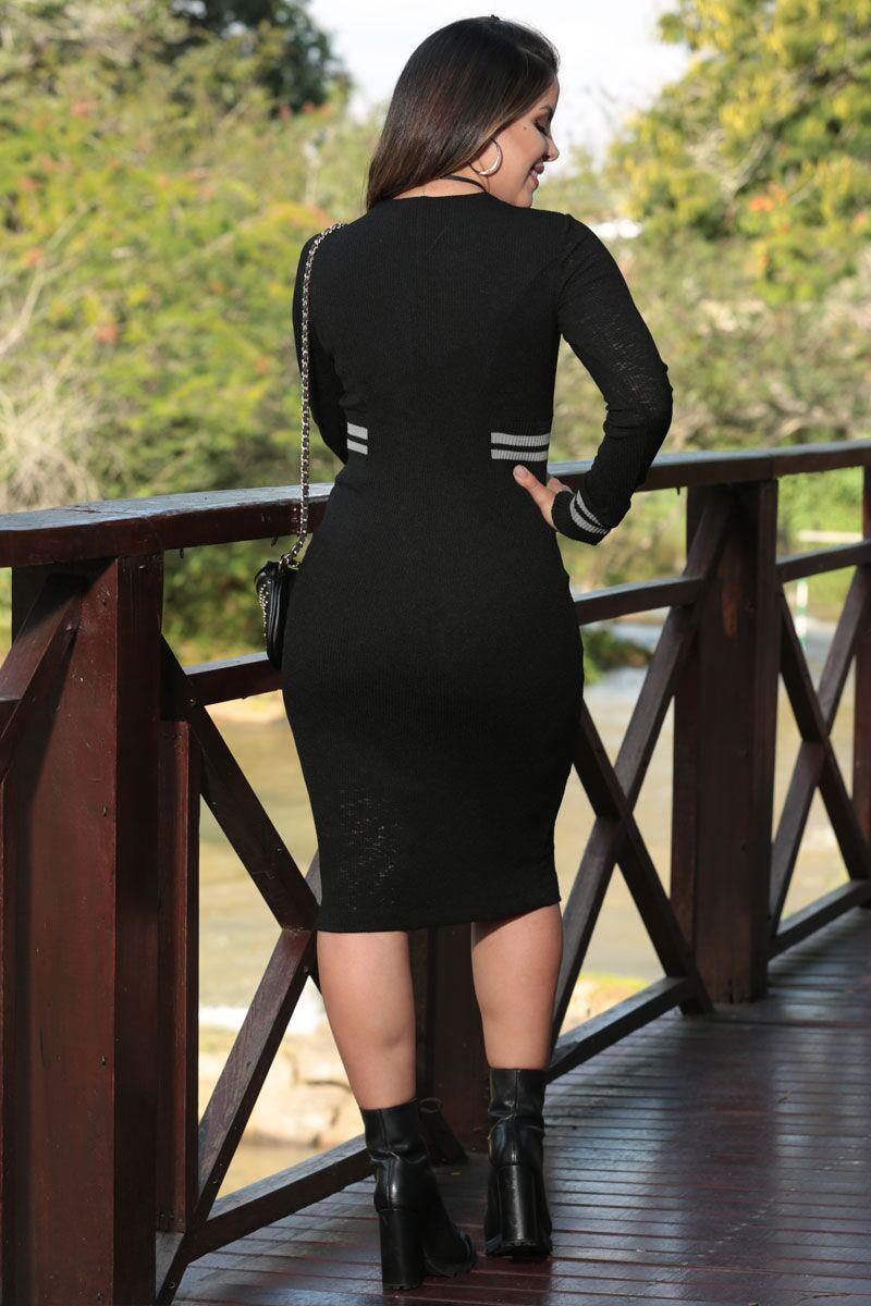 Vestido Tricot com Forro Listrada Luciana Pais 92477
