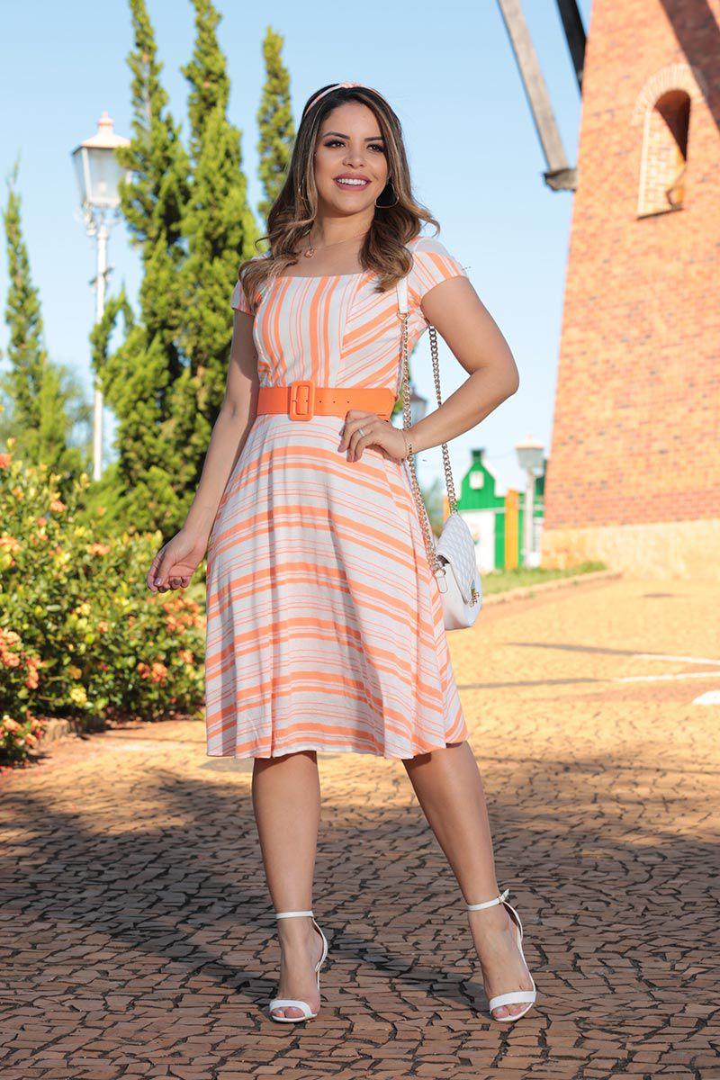 Vestido Tricot Listrado Lady Like com Forro Acompanha Tiara Luciana Pais 92504