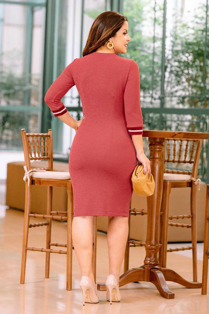Vestido Tubinho Malha Luciana Pais 92750 Vermelho