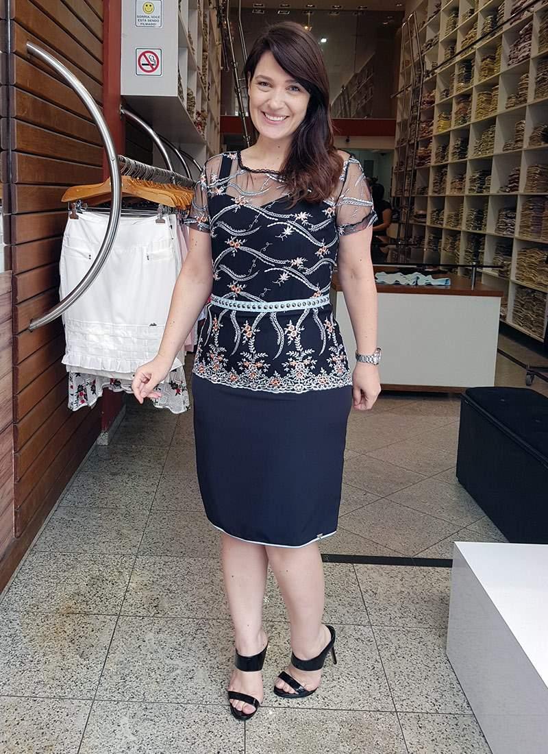Vestido Tule Bordado Monia Moda Evangélica 84154