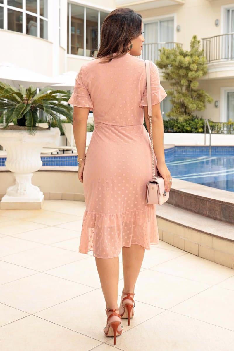 Vestido Tule de Malha Poa Detalhe em Rendas Luciana Pais 92641