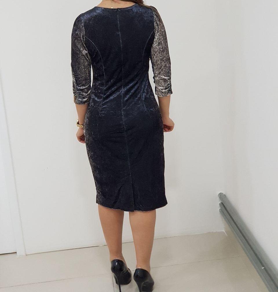 Vestido Veludo Molhado Kauly  1106