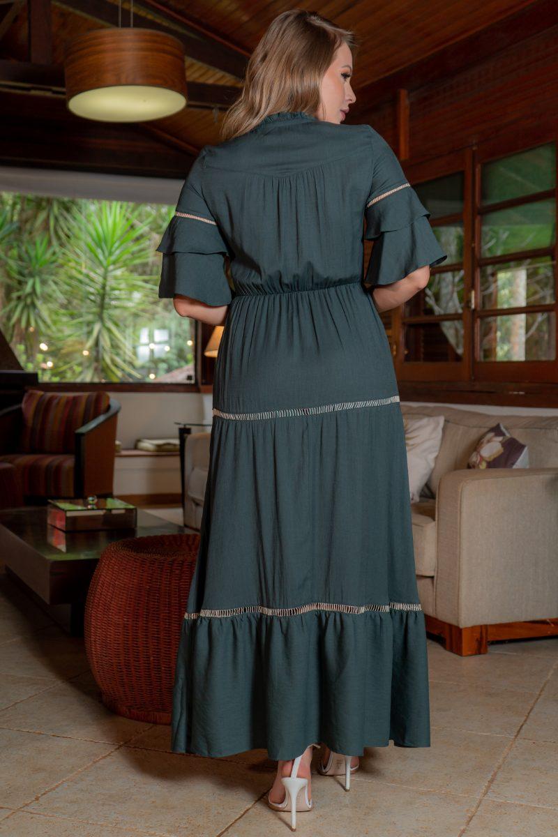 Vestido Verde Kauly Viscolinho Detalhes Rendas Elastico na Cintura 3199