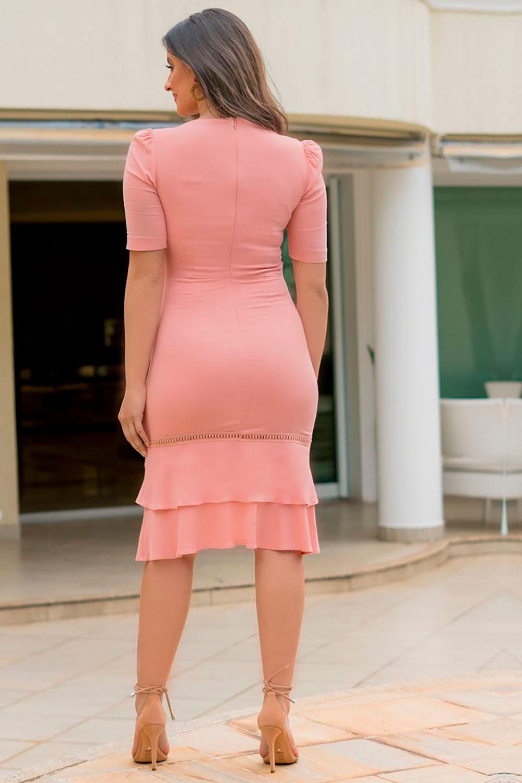 Vestido Viscose Acetinado Decote Quadrado Luciana Pais 92853 Rosa