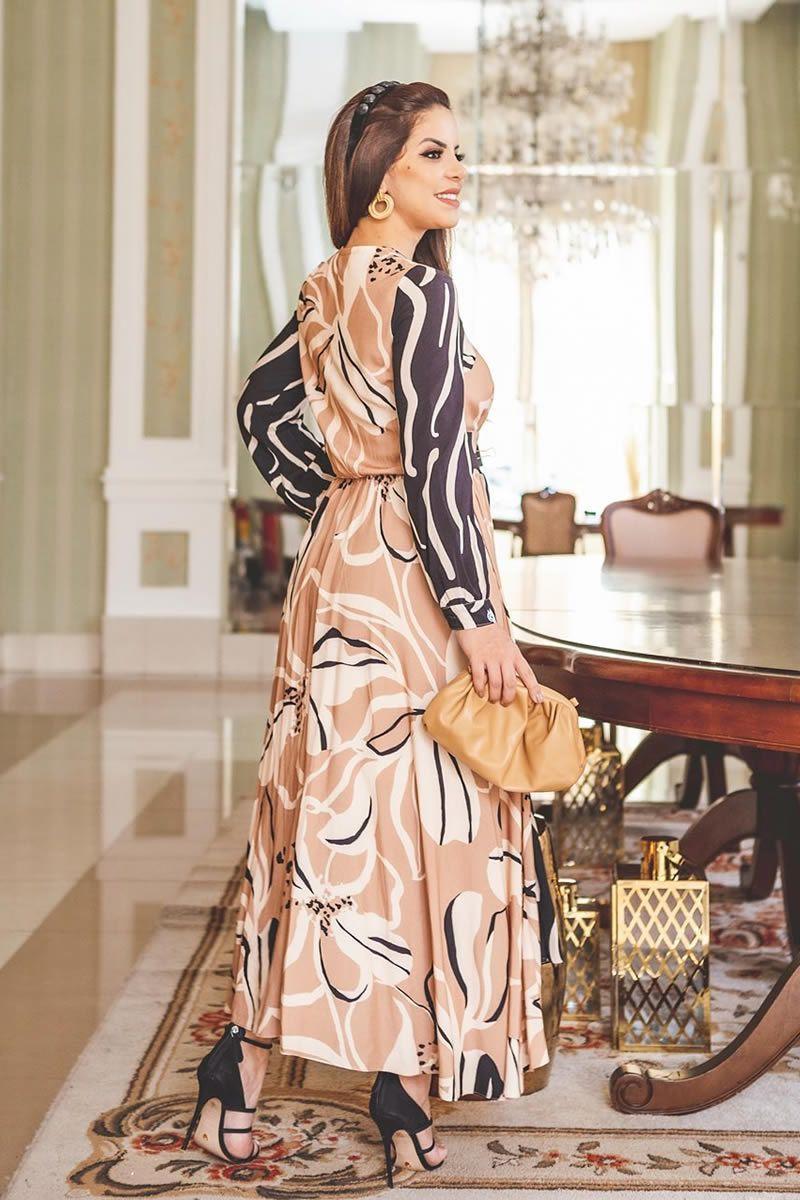 Vestido Viscose Comprimento Maxi Kauly 2807 Bege