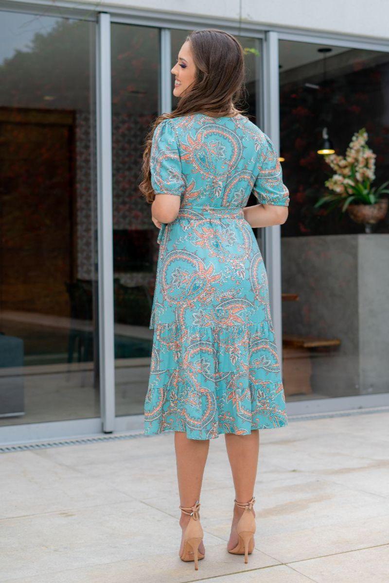 Vestido Luciana Pais Viscolinho Cinto Faixa 93005