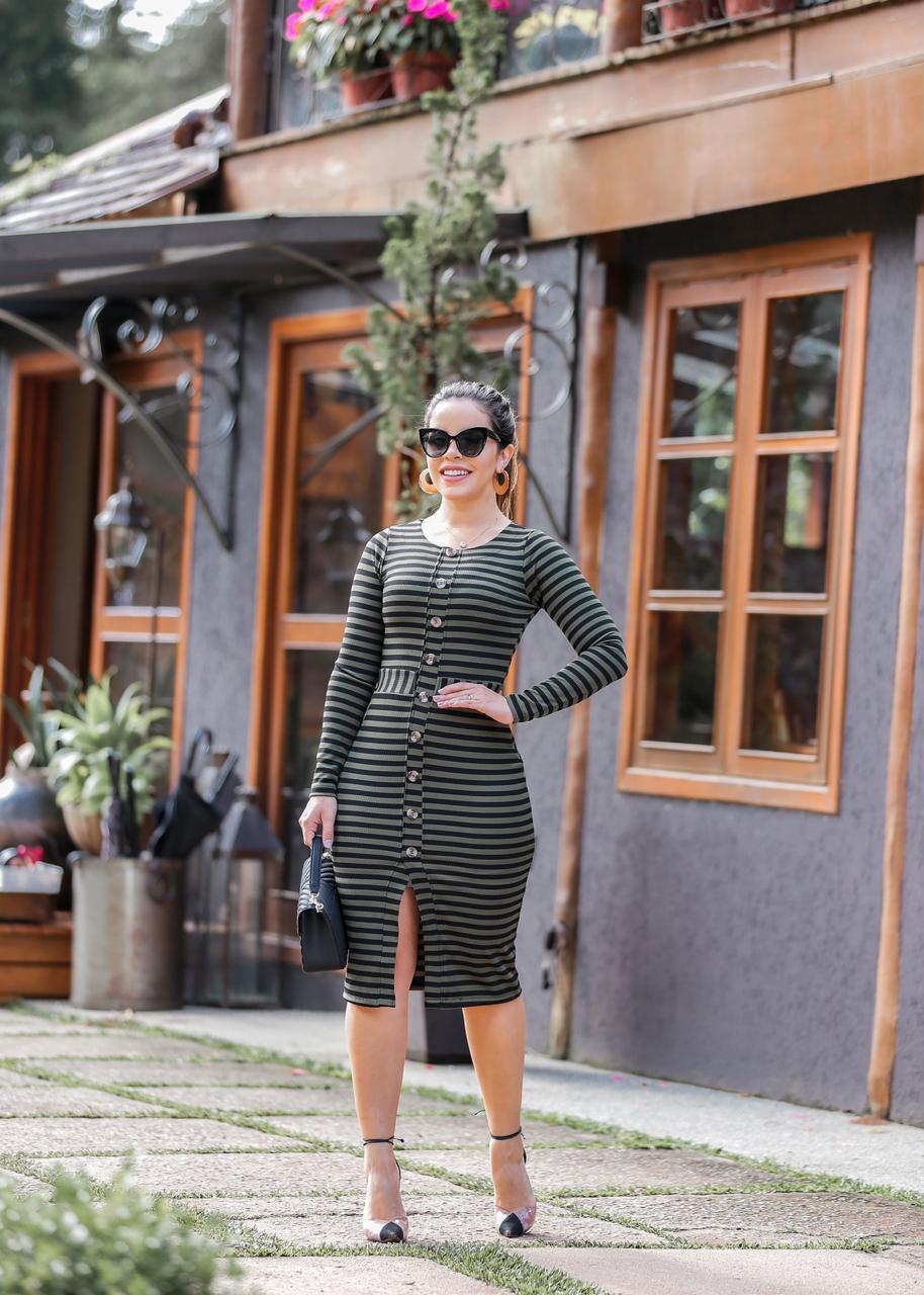 VestidoTubinho Listrado Verde Moda Enncante Sophia