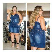 Vestido Feminino Jeans Com Alça Ajustável Plus Size Lycra