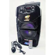 Caixa De Som Bluetooth Amplificada Bateria Interna Rodinha Kimiso QS-808
