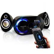 Caixa Som Bluetooth 18w Subwoofer Fm Sd Wireless 2.1 Canais Azul