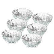 Conjunto Pires Para Sobremesa 6 Peças De Vidro Diamante 13 x 6cm Lyor Bowl King 7452