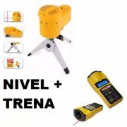 Kit Nível A Laser Com Esquadro Feixe + Trena Digital Laser Mira