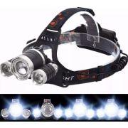 Lanterna Cabeça Bike Trilha Acampamento 3 LEDS T6 Recarregável