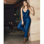 Macacão Jeans Longo Feminino Com Decote Alça