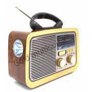 Radio Retro Clássico Am Fm Entrada Usb Cartão Sd Aux Pendrive E Lanterna Altomex/Plugx