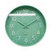 Relógio De Parede Quartz Analógico Verde 25cm