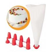 Saco Confeiteiro Confeitar Decorar Bolo Cupcake + 8 Bicos - Kza
